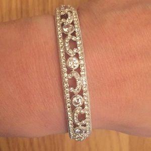 Crystal and stone bangle bracelet